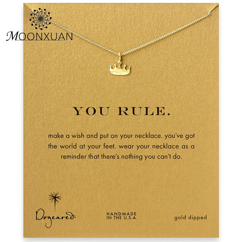 Dogeared Crown Choker Necklace Colar Kolye Necklaces & Pendants Chocker Collares Chain Womens Jewellery You Rule Reminder MX27