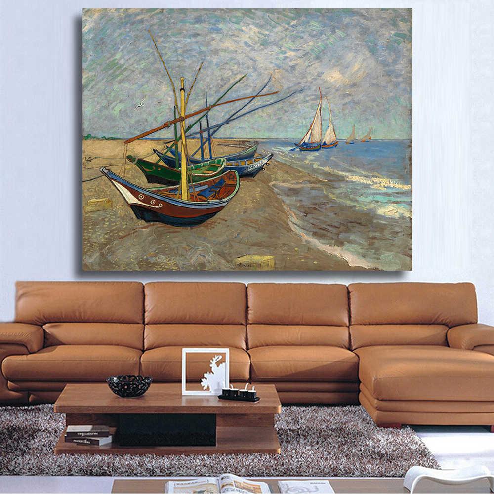 Barcos de pesca HDARTISAN en la playa de Vicent van Gogh impresión pared arte decoración pintura al óleo en lienzo pintura de pared
