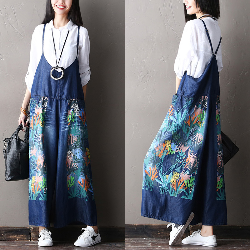 2017 female new arrival autumn casual loose  print plus size all-match bib pants jean