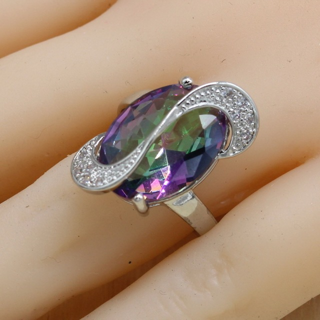 Jewelry Sets 925 Silver Mystic Rainbow Cubic Zirconia Earrings/Pendant/Necklace/Ring/Bracelet