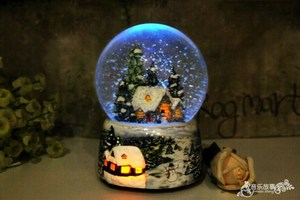 Image 5 - Christmas Snow Globe Snow House Crystal Ball Rotate Light Voice Control Music Box Castle In The Sky Birthday Gift for Girlfriend