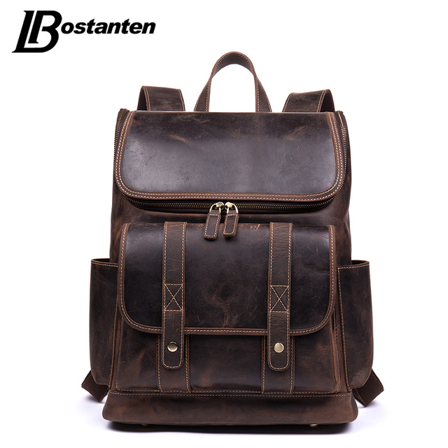 a8e1ec34f86e BOSTANTEN New Cowhide Genuine Leather Backpack Male Crazy-horse Leather Men  Backpacks College Office Daypack 15