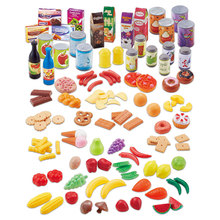 120PCS Kitchen Fun Fruits Vegetables Plastic Food Toy Simulation Cutting  Pretend Food Cutting Toys Diversity Food sets for Kids