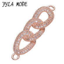 Gold/Silver/Rose Gold Color Link Chain Shape Connectors Micro Pave Zircon Jewelry Accessory Fit Men Women Jewelry Making CHF538