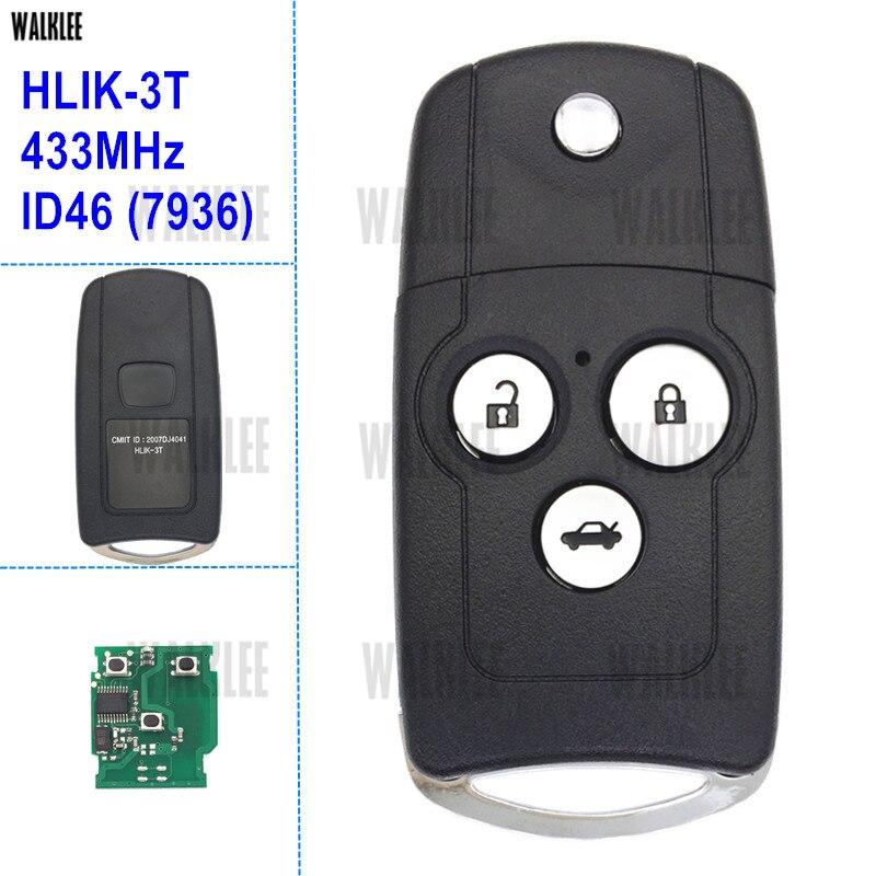 Walklee пульт дистанционного управления Ключи Подходит для Honda Accord City Civic CRV Одиссея 433 мГц с ID46 чип Партномер HLIK-3T