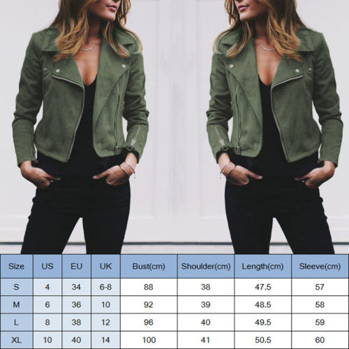 Fashion Women s Ladies Leather Jackets Casual Coats Zip Up Biker Flight Tops Clothes Fashion Women's Ladies Leather Jackets Casual Coats Zip Up Biker Flight Tops Clothes