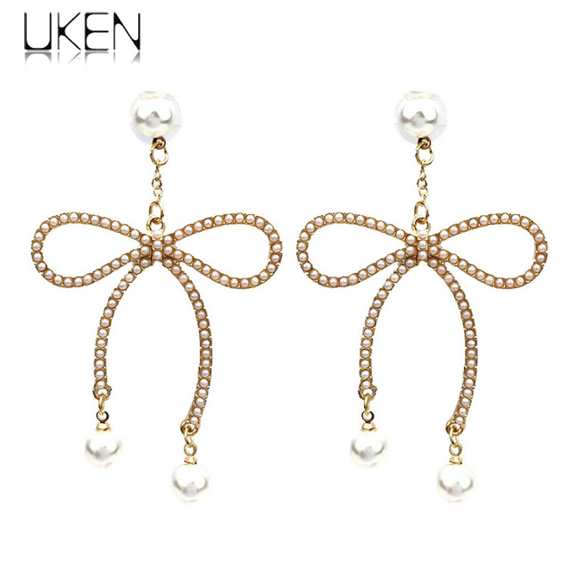 Uken New High Quality Gold Color Erfly Bow Knot Imitation Pearl Drop Earrings For Women Fashion