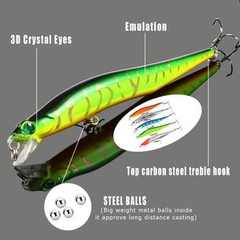 Рыболовная приманка, 1 шт., 12 см/12 г, 3D приманка с глазами, со звуковым шариком, встроенная, искусственная, твердая, плавающая, стальная, рыболо...