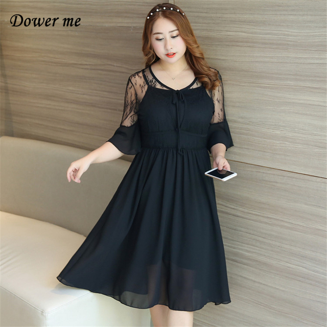 0d916d824783 Summer Ladies Frocks 2018 Black Plus Size Half Sleeve V-Neck Lady Style  Loose Voile Fashion Casual Women Dress YT7018