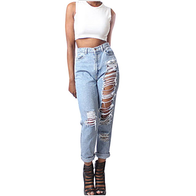 Women Celeb Stretch Ripped Skinny High Waist Jeans Lady Casual Street Fashion Hole Slit Pants Girl Straight Denim Trousers Dec20