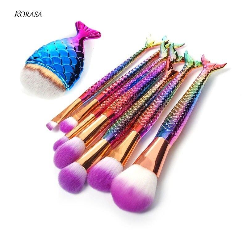 Makeup Brushes Set Rainbow Mermaid Fish Tail Cosmetic Brush Foundation Eye shadow Blush Powder Concealer Make up Brush Tool Kit корпус atx 3cott 4016 450 вт чёрный