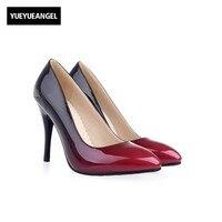 De Las nuevas Mujeres Hight Zapatos de Tacón Punta estrecha Resbalón de Patentes Zapatos de cuero Para Las Mujeres Paty Vestido de Boda Cambiando Gradualmente de Color rojo