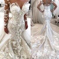 Гламурная Белый аппликации Пром платье Длинные рукава на молнии Свадебные платья индивидуальный заказ Тюль Vestidos формальные Платья для веч