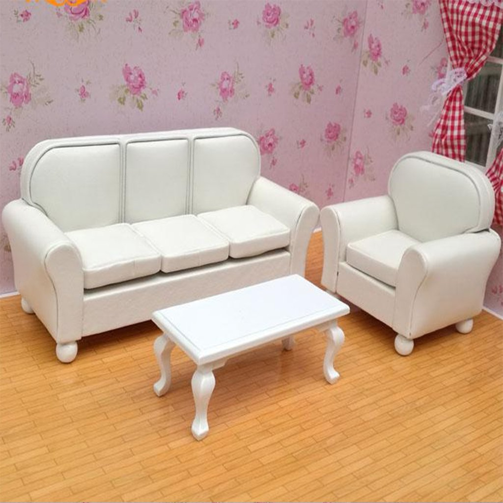 1:12 Scale Dollhouse Furniture Wooden PU Leather Safa End Table Model Miniature Doll House Accessories Decoration Toys Gift