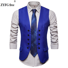 цена 2018 men fashion suit vest High-quality Men's Double-breasted Design Suit Vest High-end Business Casual Suit Vests large size онлайн в 2017 году