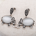 Opal Rhinestone Elephant Stud Earrings Vintage Silver Plated  Bohemia Ethnic  Wedding  UVOGUE Brand Jewelry For Women