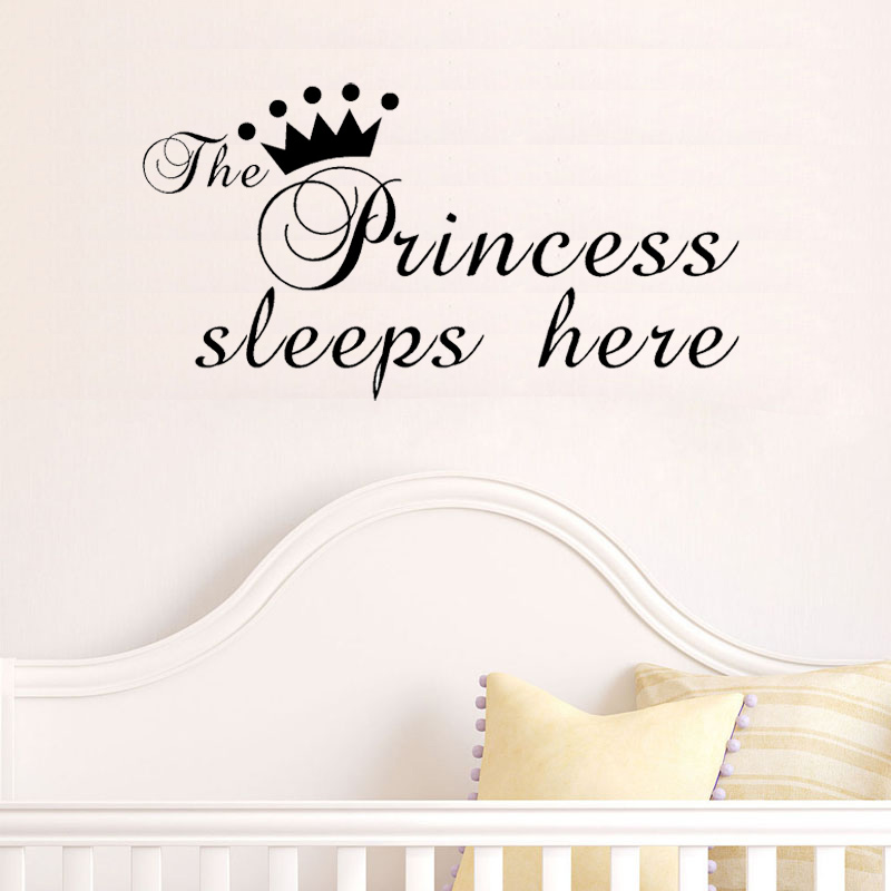 US $5 24 25% OFF|The Princess wall sticker Sleeps Here wall art decals  living room decorative stickers wallpaper quote Size 30x57cm-in Wall  Stickers