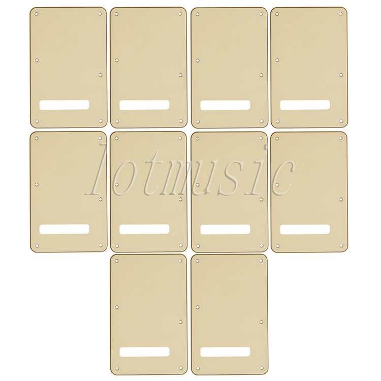 10Pcs Cream 3Ply Back Plate Tremolo Cavity Cover Trem Cover Parts for Electric ST Guitar Replacement musiclily 3ply pvc outline pickguard for fenderstrat st guitar custom