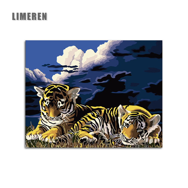 Frameless Tiger animal Night lawn Painting By Numbers Coloring By ...