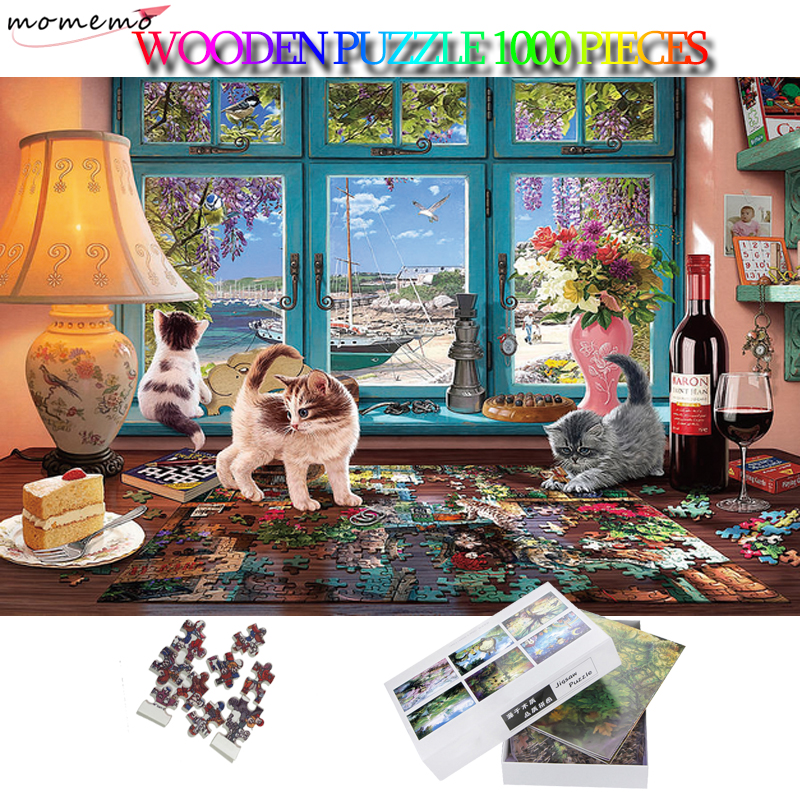 MOMEMO Lovely Cats 1000 Pieces Wooden Puzzles Attractive 1000 Pieces Adults Puzzles Adults Children Collection Jigsaw Puzzle Toy