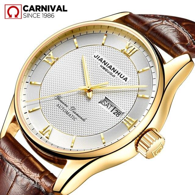 586cac0ccda CARNAVAL Relógios Mecânicos Top Quality Luxo Marca de Relógios Automáticos  De Couro Dos Homens de Negócios