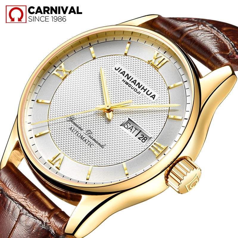 CARNIVAL Mechanical Watches Top Quality Luxury Brand Mens Business Automatic Watches Leather Male Wrist Clocks Relogio Masculino business men classic luxury watch automatic mechanical watches mens hours ruimas top brand male steel clocks relogio masculino