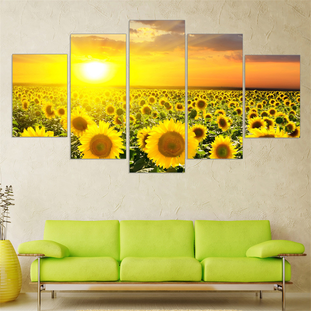 Modern Oil Painting Flower Modular Canvas Art Landscape Sun Posters and Prints pictures kitchen Home Print 5 pieces Wall Art
