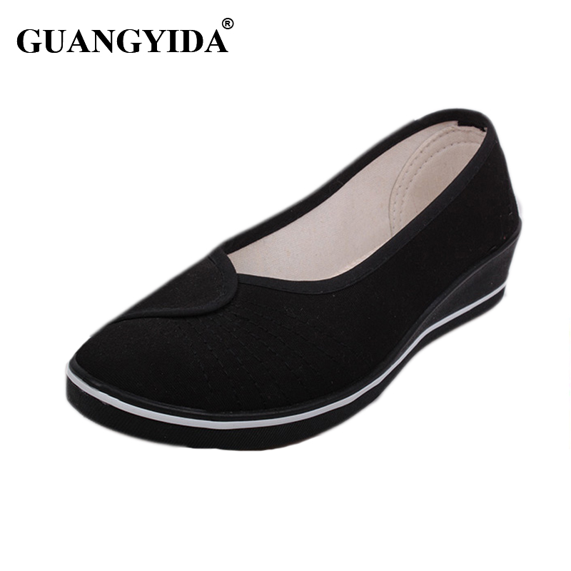 2017 Women Nurse shoes Wedge shoes Work Shoes Woman Loafers 3cm Height increasing women Flats White canvas shoes Plus size 41 blue and white canvas anti static shoes esd clean shoes pharmaceutical shoes work shoes add cotton