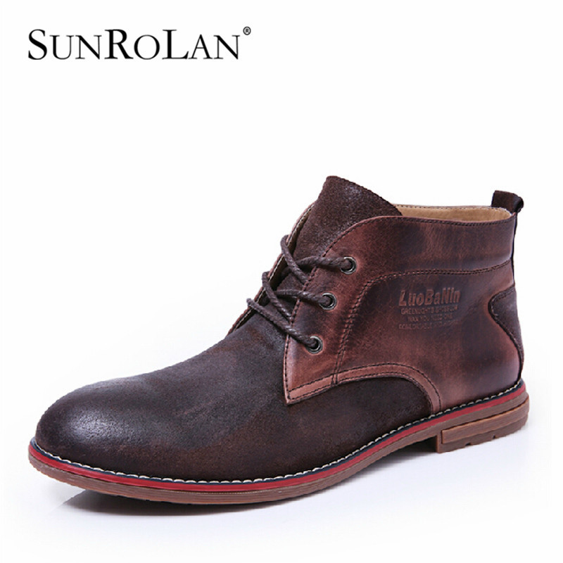 SUNROLAN 2016 Men's Winter Shoes Genuine Leather with Fur Man Ankle Boots Casual Round Toe Lace -up Winter Suede Boots Men 9035 women s boots genuine leather ankle boots round toe lace up woman casual shoes with without fur autumn winter boots 568 6
