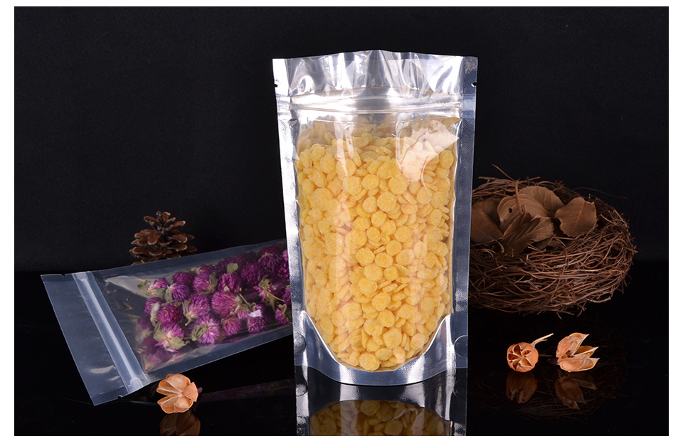 100pcs Translucent aluminum foil zipper Tea Preserved fruit stand food pouch clear bags for packaging reusable