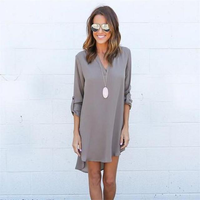 VISNXGI Summer New Dresses 2017 Fashion Women Casual Loose Plus Size Elegant Dress Long Sleeve Irregular Chiffon Dress Vestidos
