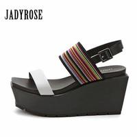 Jady Rose Designer Summer Women Gladiator Sandals Platform Wedge Shoes Woman Corlorful Beach Sandalias Mujer Creepers