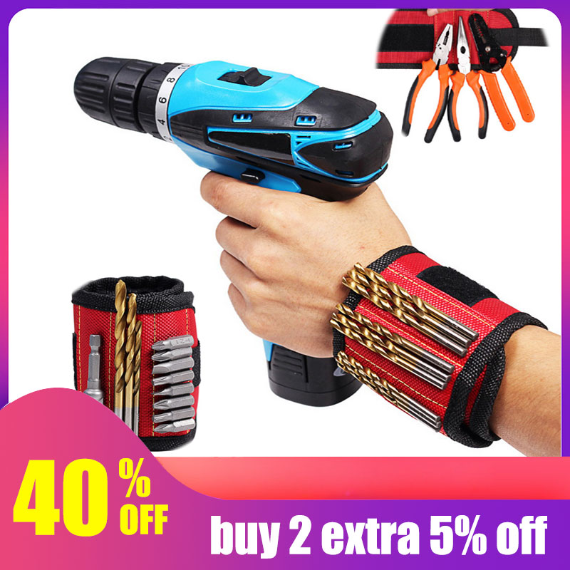 Hoomall Magnetic Wristband Portable Small Tool Bags 2 Magnets Screws Nails Drill Bits Electrician Bag Magnetic Bracelet For Tool