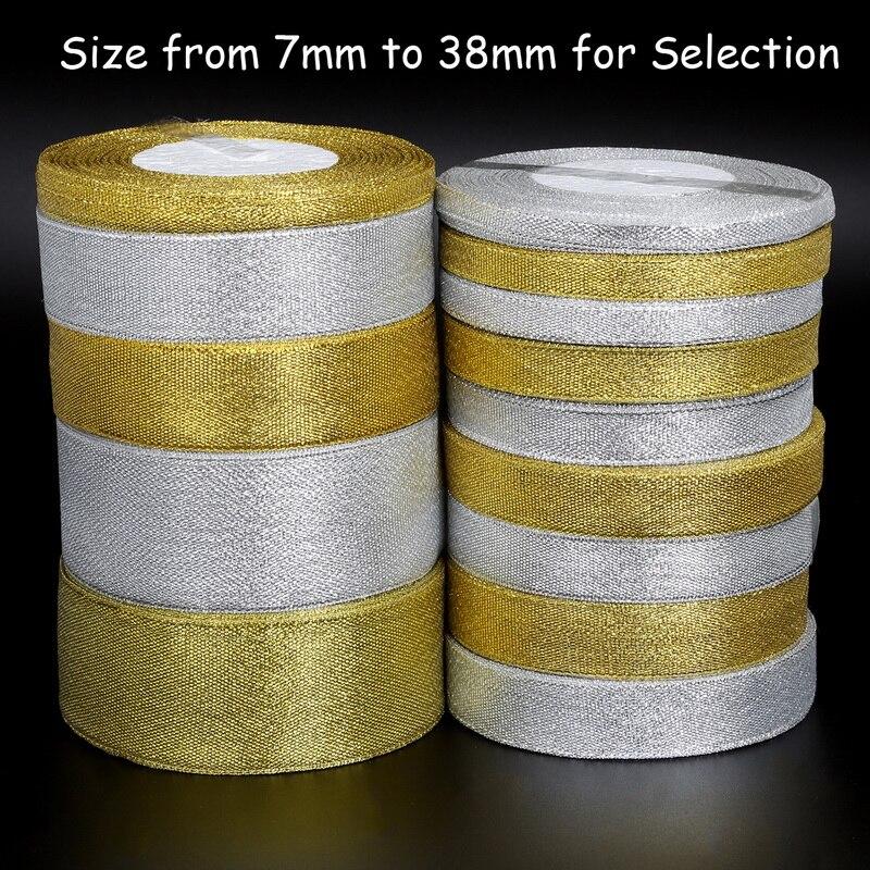 25 ярд/лот блестящие, ручной работы золотой серебряный ленты металлик блеск для свадьбы Рождество Приглашение украшения карты Подарок Warpping