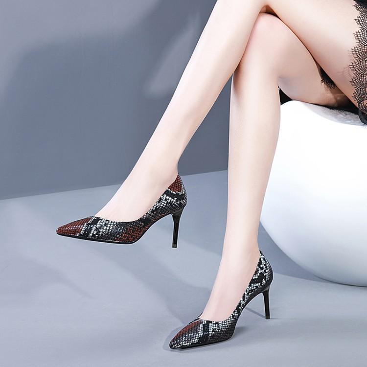 Cuir Mujer En Talons As De Zapatos Peu Show Profonde Serpent Luxe Designers Glissement Femme Dame Femmes Pompes Sur Chaussures Bout Haute Nouveau Show as Pointu CtxFwqwU