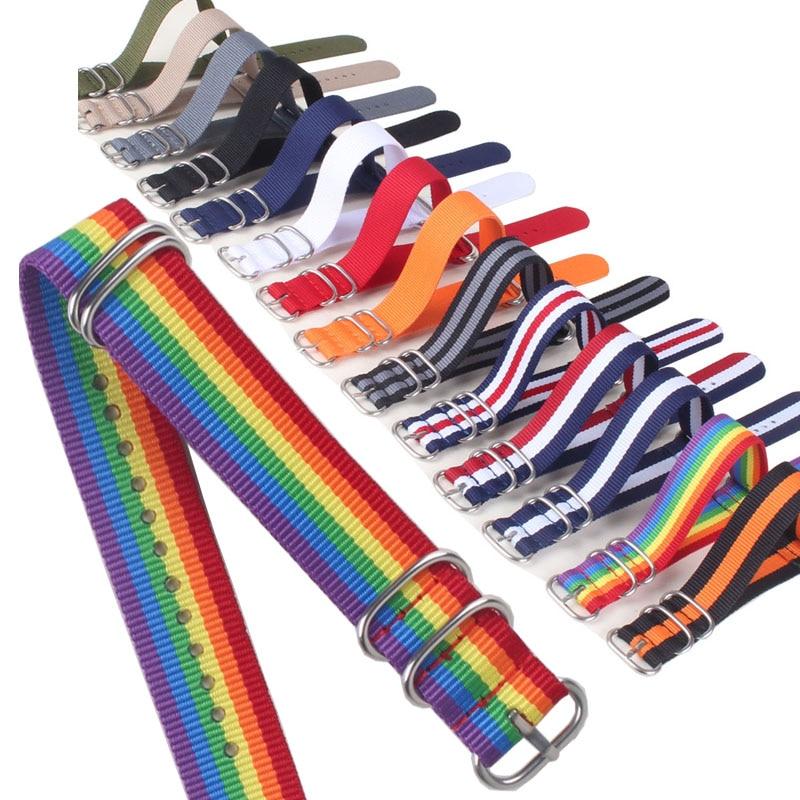 Buy 2 Get 20% OFF) 16/18/20/22/24mm ZULU Cambo Stripe Ring Buckle Watchband Fiber Woven Nylon Watch Straps Wristwatch Bands