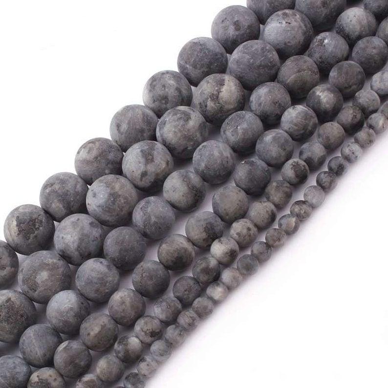Black Labradorite Matte Beads, Natural Gemstone Beads, Round Stone Beads For Jewelry Making 6mm 8mm 10mm 12mm 2