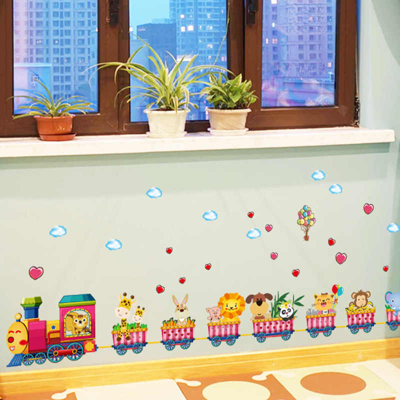 Cartoon train kindergarten wall decoration wallpaper stickers baby bedroom children room wall stickers