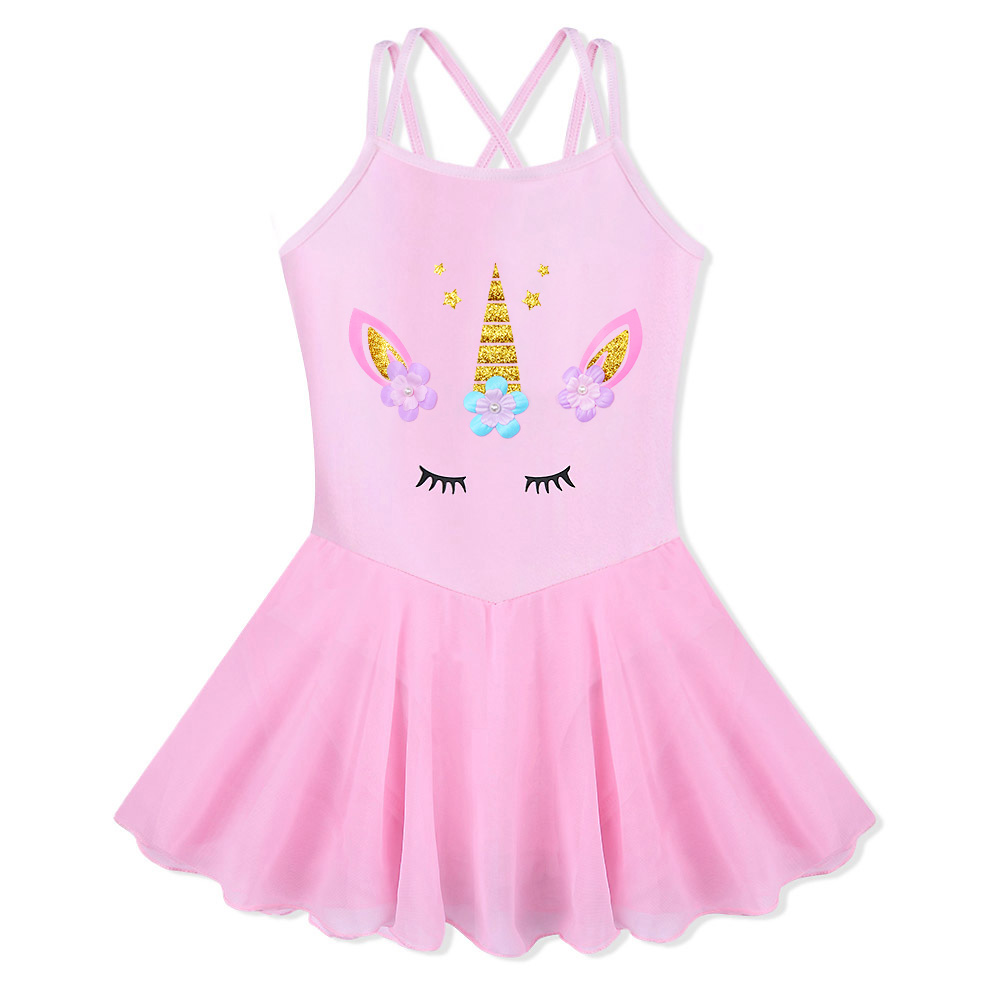 BAOHULU Girls Cotton Ballet Dress Sleeveless Pink Color Ballet Tutu Carton Print Princess Dance Wear Ballerina Gymnastics Dress