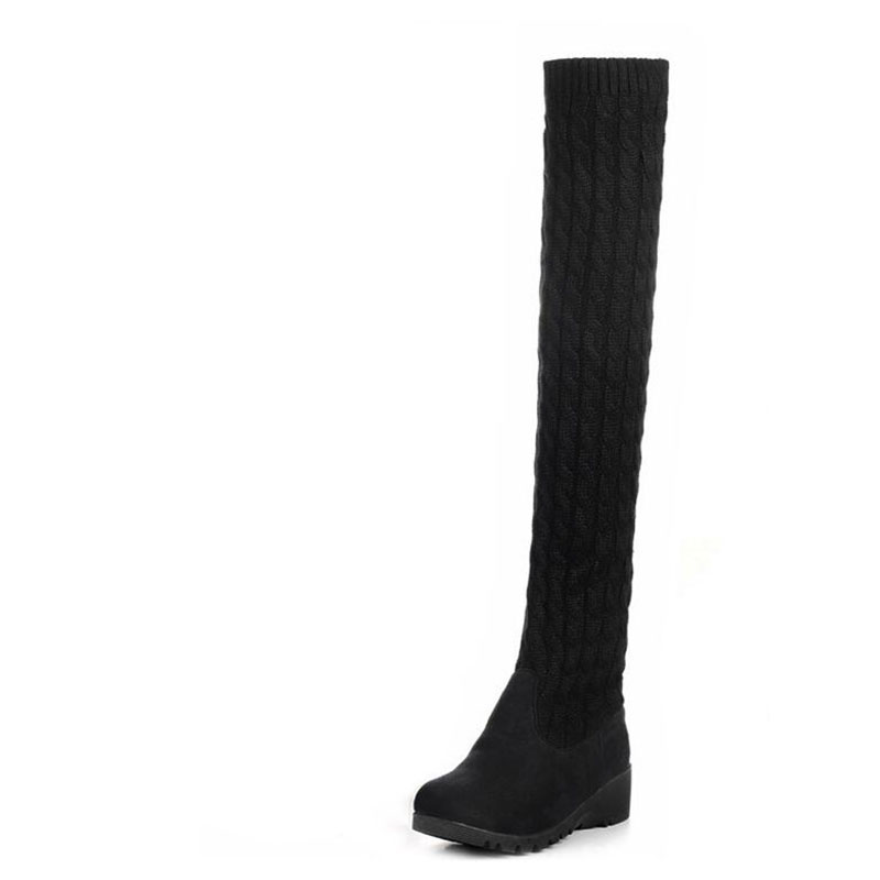 Fashionable new 2017 winter boots and women knee-high boots elastic thick furry boots more women boots size 35-40 free shipping vpg wl1406 free shipping higher quality weight lifting knee sleeves for powerlifting crossfit knee pad for women and men