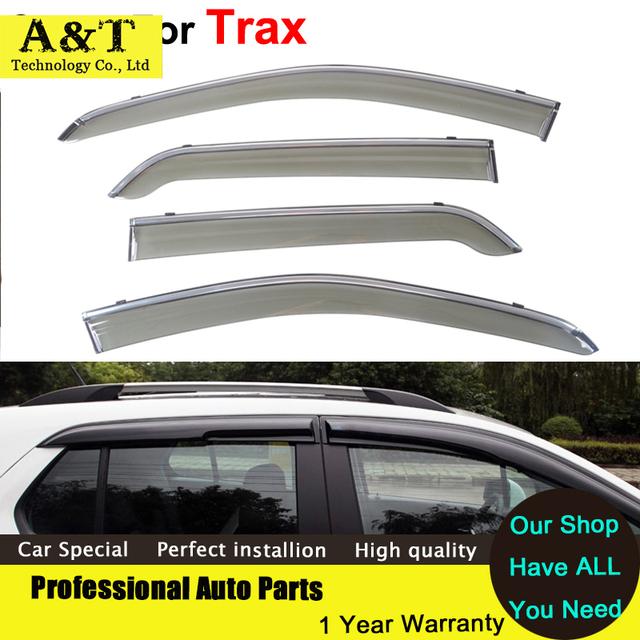 Estilo do carro Janelas Viseiras Para Chevrolet Trax 2015 2016 óculos de Sol Carro-Styling Toldos Abrigos Carro chuva Escudo Adesivos Cobre Acces