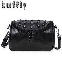 2017 Luxury Black Genuine Leather Famous And Women Messenger Bags Sheepskin Crossbody Bag Lock Rivet Shoulder