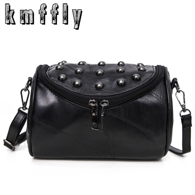 2017 Luxury Black Genuine Leather Famous and Women Messenger Bags Sheepskin Crossbody Bag Lock Rivet Shoulder Clutch Bag Bolas