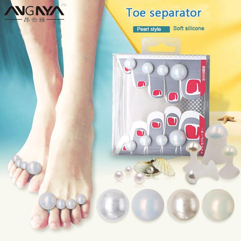 ANGNYA 8Pcs Cute Soft Silicone Toe Separator Finger Toe Splitter Mermaid Shining Pearls Rhinestones Foot Care Pedicures Tools