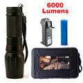 New Powerful X800 LED Flashligh CREE XM-L2 6000 Lumens LED Torch Zoomable Flashlight LED Lamp + Battery +Charger G700 Flashlight