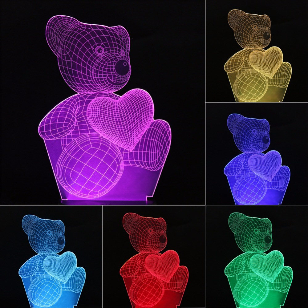 Children's Night Light 7 Color Changing Heart Bear Shape 3d Night Light 3D Led Lamp Bedroom Living Room Decoration led night light 7 color changing touch switch bedroom bookcase beside lamp portable for bedroom living room or camping