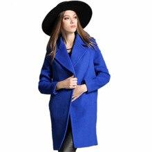 New 2016 Winter Overcoat Women's Plus Size Big Lapel Blue Pocket Wool Coat long Jackets Parka Coats Outerwear High Quality
