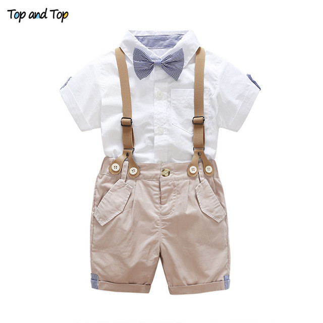 fa97d75c Top and Top Summer Toddler Baby Boys Clothing Sets Short Sleeve Bow Tie  Shirt+Suspenders Shorts Pants Formal Gentleman Suits