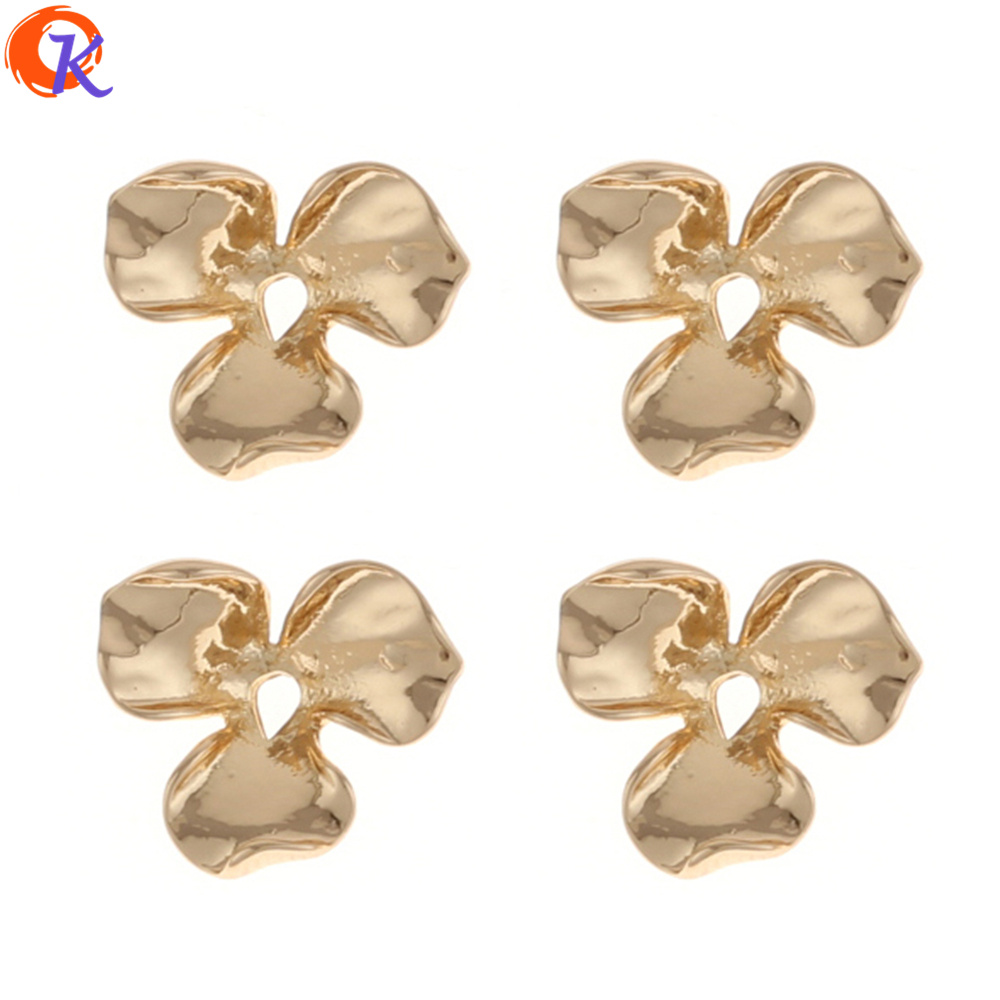Cordial Design 100Pcs/Lot 13*15MM Jewelry Accessories/DIY/Zinc Alloy/Gold Color/Flower Shape/Hand Made/Earring Findings