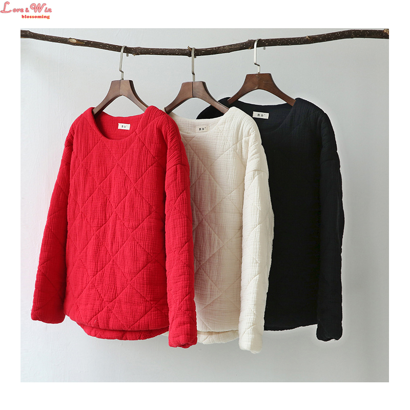 New Loose Winter Short Cotton Padded Jackets Argyle Pattern Long Sleeve Warm Cotton Tops Pullovers Outwear